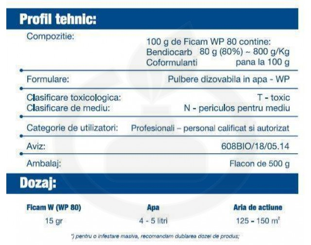 bayer insecticid ficam wp80 500 g - 3