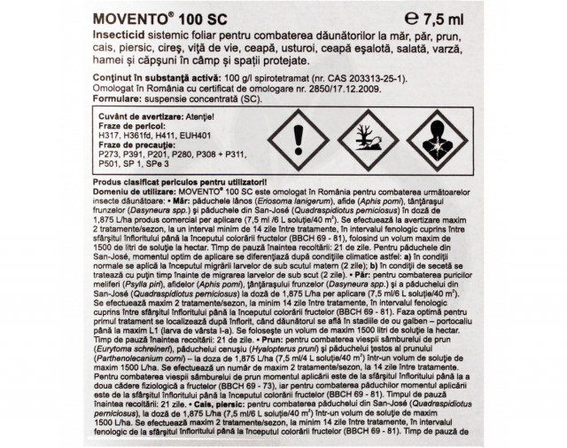 bayer insecticid agro movento 100 sc 7.5 ml - 2