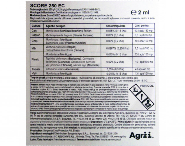 syngenta fungicid score 250 ec 250 ml - 2
