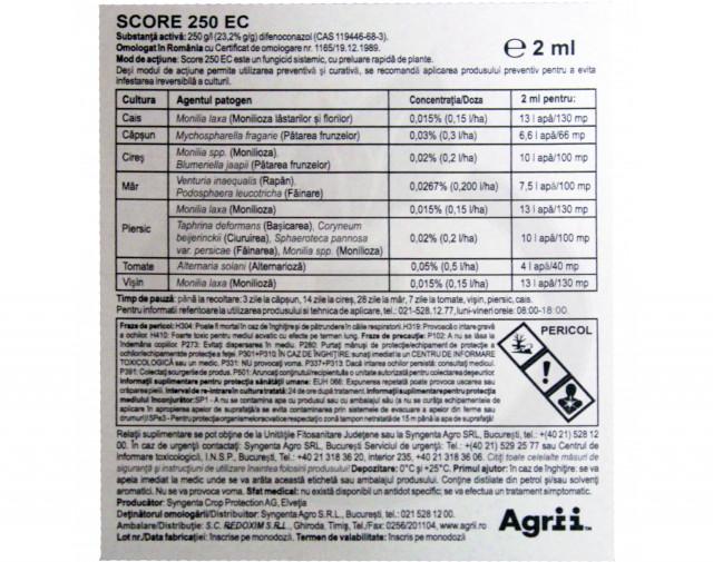 syngenta fungicid score 250 ec 50 ml - 5