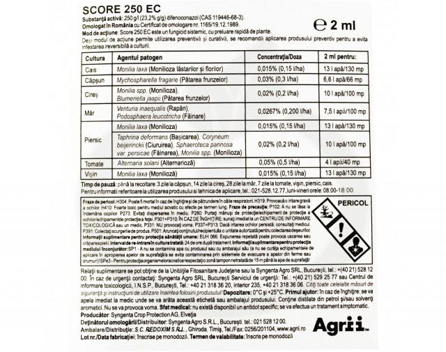 syngenta fungicid chorus 50 wg 1 kg score 250 ec 0.5l - 3