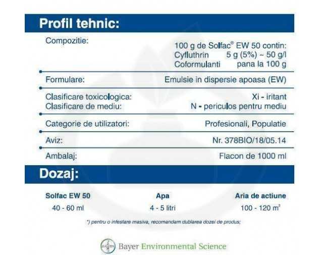 bayer insecticid solfac ew 50 1 litru - 2